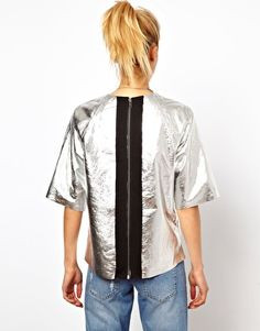 Space T - ASOS T-shirt in metallic leather, back