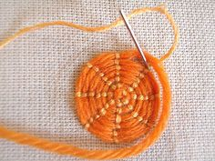 Embroidery Stitch Technique - how to make couched circle - other stitches