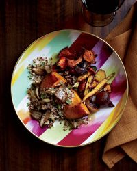 Squash stuffed with Quinoa and Wild Mushrooms!  Gotta try this, Quinoa is a seed that cooks like rice, so you get lots of protein in all your favorite rice recipes!