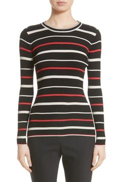 Free shipping and returns on St. John Collection Multicolor Stripe Knit Top (Nordstrom Exclusive) at Nordstrom.com. The addition of custom, handcrafted buttons along the shoulders makes this fitted, rib-knit pullover feel a little more polished.