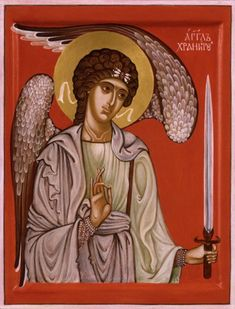 A guardian angel is an angel that is assigned to protect and guide a particular person, group, kingdom, or country. Belief in guardian angels can be traced thro Romulus And Remus, Religious Paintings, Religious Icons, Guardian Angels, Orthodox Icons, Angel Art, Celestial, Madonna, Artwork