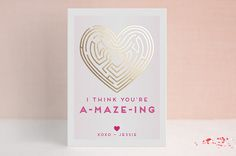 You're A-Maze-Ing Foil-Pressed Classroom Valentine's Day Cards by Adori Designs at minted.com