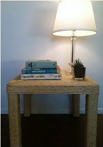 A project--sisal rope covered Ikea Lack table. From Ikea Hacker