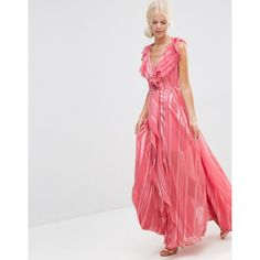 ASOS Ruffle Waterfall Maxi Dress With Zip Front In Self Stripe (£75) ❤ liked on Polyvore featuring dresses, pink, maxi slip, pink dress, v-neck dresses, pink mini dress and v neck dress