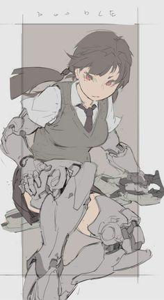 Cyborg school girl, #cyberpunk #scifi character inspiration