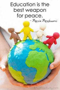 """Word art freebie based on the quote by Maria Montessori """"Education is the best weapon for peace."""" Bits of Positivity Montessori peace peaceeducation MontessoriQuote 1618549852843550 Montessori Education, Montessori Classroom, Montessori Activities, Montessori Theory, Montessori Toddler, Montessori Materials, Primary Education, Special Education, Peace Education"""