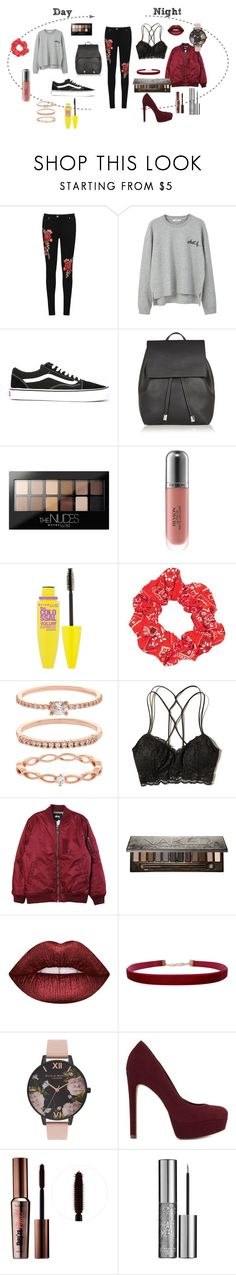 """""""Day to Night Jeans"""" by hollynagle on Polyvore featuring WearAll, MANGO, Vans, Topshop, Maybelline, Revlon, Accessorize, Hollister Co., Stussy and Urban Decay"""