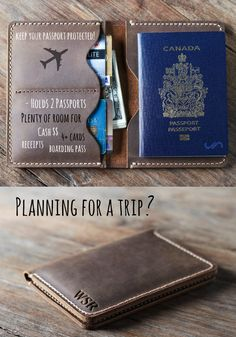 Planning for a trip? This rustic leather passport wallet is the perfect travel companion. Customize it with your initials, name, travel quotes, coordinates, etc. The sky is the limit. Crea Cuir, Travel Accessories For Men, Leather Passport Wallet, Leather Projects, Leather Working, Leather Craft, Handmade Leather, Travel Style, Travel Fashion