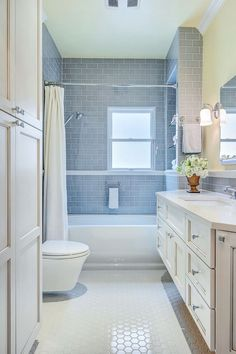 Gorgeous kohler bancroft in Bathroom Transitional with Gray Subway Tile next to…