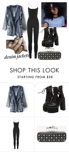 """DenimLife"" by breestreet ❤ liked on Polyvore featuring WithChic, Valentino and Alexander McQueen"