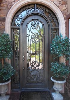 Custom Wrought Iron Double Entry Door With Arch Top For The - Wrought iron front door