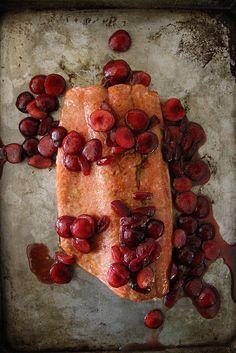 Roasted Balsamic Salmon with Honey Glazed Cherries