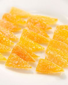 Turn Meyer lemon peel into tart, tangy candy with this recipe from June Taylor on The Martha Stewart Show. Candied Lemon Peel, Candied Lemons, Candied Fruit, Candied Peel Recipe, Candy Recipes, Fruit Recipes, Dessert Recipes, Recipies, Fudge