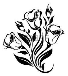 Silhouette noire de fleurs illustration vectorielle ornement photo