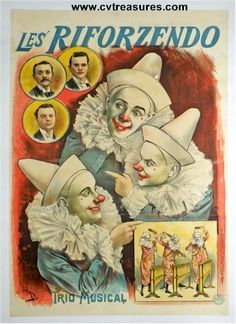 ... Musical Poster . THE RIFORZENDO MUSICAL TRIO Vintage French Musical