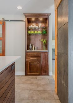 Brown Wood Cabinet With Coffee Maker