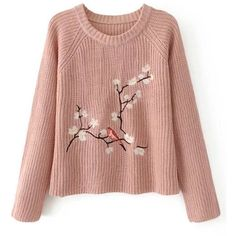 SheIn(sheinside) Flower Embroidery Raglan Sleeve Jumper ($25) ❤ liked on Polyvore featuring tops, sweaters, pink, loose pullover sweater, embroidered sweater, raglan sleeve sweater, pink sweater and sweater pullover