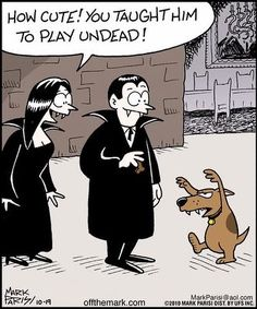Playing Undead - Sunday Fun Day - Sunday October 2013 - {Faith Hope Love & Luck Survive Despite a Whiskered Accomplice} - Funny Halloween Memes, Halloween Cartoons, Halloween Fun, Halloween Witches, Halloween Prints, Funny Cartoons, Funny Comics, Game Design, Funniest Short Jokes