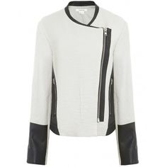 Women's Helmut Lang Striped Jacquard & Leather Jacket ($960) ❤ liked on Polyvore