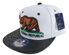 Aztec California Republic SnapBack Cap-wh 3D
