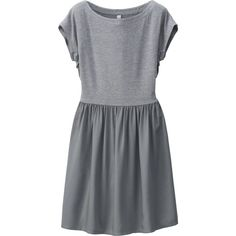 UNIQLO Jersey Flared Short Sleeve Dress ($7.49) ❤ liked on Polyvore featuring dresses, vestidos, sleeve dress, loose sleeve dress, flared sleeve dress, ruched waist dress and loose fitting dresses