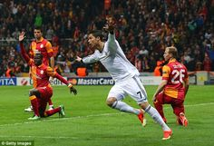 Galatasaray 3-2 Real Madrid (agg 3-5) : It all started so well: Ronaldo celebrates putting Real 1-0 up on the night. Hala Madrid!!!