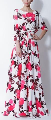 Long Floral Print Dress-Deep Pink/Red Floral