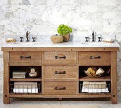 Benchwright Double Sink Console, Wax Pine Finish - farmhouse - Bathroom Vanities And Sink Consoles - Pottery Barn Bathroom Vanity Decor, Bathroom Renos, Master Bathroom, Bathroom Ideas, Master Baths, Bathroom Mirrors, Bathroom Colors, Bathroom Cabinets, Bathroom Storage