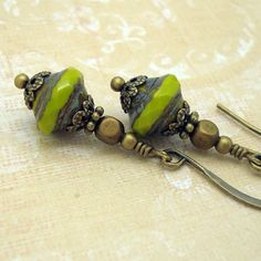 Lime Green Drop Earrings Petite Earrings by CloudCapJewelry
