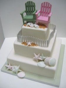 beach theme wedding cakes picture