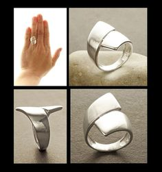 Sterling Crossing Ring 925 Sterling Silver Large by KRAMIKE