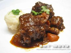 Stewed Oxtail in Red Wine. After I brown the meat, I transfer everything to a Crockpot and cook for about 6 hours.