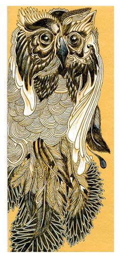 Owl Feathers Art Print - Black and white on brown drawing  ..  by Sarah Gossett  .. [Golden Haze]