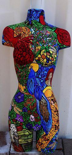 Mirror Mosaic, Mosaic Art, Mosaic Glass, Stained Glass, Mosaics, Acrylic Artwork, Bird Artwork, Mannequin Art, Mannequin Torso