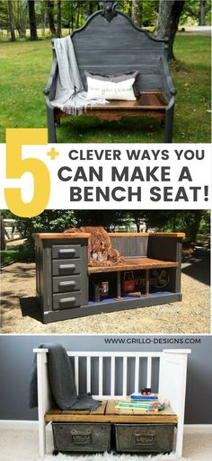 Upcycled Bench Ideas - From Repurposed Furniture! Browse all of these amazing upcycled bench idea Furniture Projects, Furniture Making, Home Projects, Home Furniture, Furniture Design, Furniture Online, Cheap Furniture, Homemade Furniture, Furniture Plans