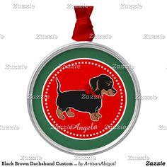 Black Brown Dachshund Custom Premium Ornament; ArtisanAbigail at Zazzle