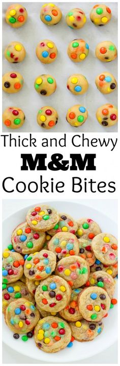 Thick and Chewy M&M Cookie Bites! So cute, so easy, so delicious!
