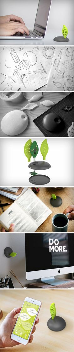 Inspired by the look of the plant, AirQuality is designed as a handy product where the design relates to the function. Designed by Ryan Yeung, the AirQuality is a Bluetooth wireless connected device that measures VOC/CO2, the temperature and humidity in the surrounding area. Carrying a somewhat playful aesthetic, the natural and artificial contrast here is an ironic twist on such a well-needed product.