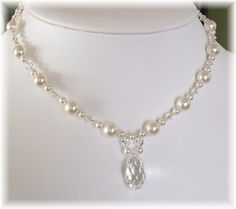 Beaded Teardrop Wedding Necklace Bridal Necklace White