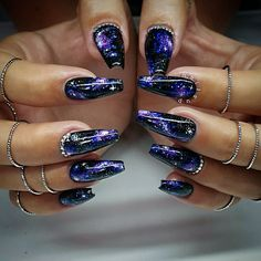 galaxy coffin nails galaxy coffin nailsYou can find Galaxy nails and more on our website. Beautiful Nail Art, Gorgeous Nails, Pretty Nails, Goth Nails, Stiletto Nails, Coffin Nails, Cool Nail Designs, Acrylic Nail Designs, Galaxy Nail Art