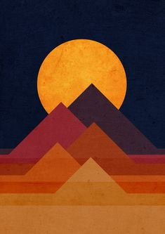 Poster | FULL MOON AND PYRAMID von Budi Kwan