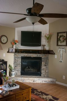 Corner Stone Fireplace Corner Stone Fireplace Erin Timm ModernMamasita Home We needed to update our corner fireplace I love how the final product nbsp hellip Corner Stone Fireplace, White Wash Brick Fireplace, Floating Fireplace, Wooden Fireplace, Farmhouse Fireplace, Home Fireplace, Fireplace Remodel, Wood Mantle, Fireplace Ideas