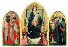Masaccio - Tríptico de San Juvenal, descubierta en 1961. La composición está construida de acuerdo con las leyes de la perspectiva: las líneas de fuga del pavimento de los tres paneles convergen en un punto de fuga central, representado por la mano derecha de la Virgen, que sostiene los pies del Niño.