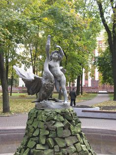 Minsk-Boy Playing with Swan Sculpture
