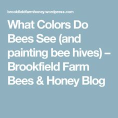 What Colors Do Bees See (and painting bee hives) – Brookfield Farm Bees & Honey Blog