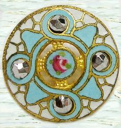 Aqua and Gold, Antique french enamel button