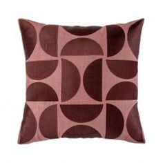 Embroidered D Motif Madder Cushion Cover