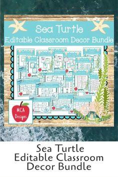 Sea Turtle Editable Classroom Decor Bundle