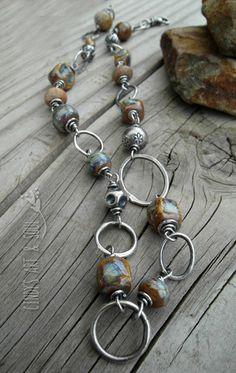 Ceramic Beaded Necklace Gemstones + Silver