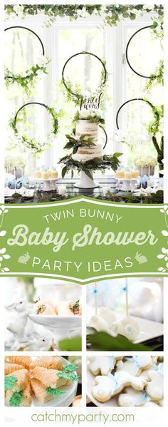You'll love this wonderful rustic twin bunny baby shower. The bunny bottom cake pops are adorable!! See more party ideas and share yours at CatchMyParty.com